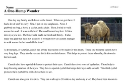 Print <i>A One-Hump Wonder</i> reading comprehension.