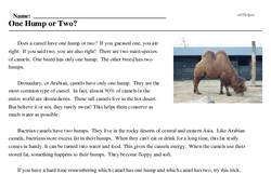 Print <i>One Hump or Two?</i> reading comprehension.