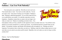 Print <i>Patience - Can You Wait Patiently?</i> reading comprehension.