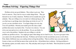 Print <i>Problem Solving - Figuring Things Out</i> reading comprehension.