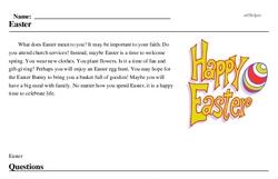 Print <i>Easter</i> reading comprehension.