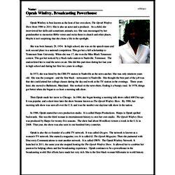 Print <i>Oprah Winfrey, Broadcasting Powerhouse</i> reading comprehension.