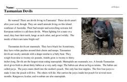 Print <i>Tasmanian Devils</i> reading comprehension.