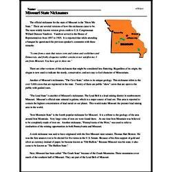 Print <i>Missouri State Nicknames</i> reading comprehension.