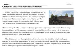 Print <i>Craters of the Moon National Monument</i> reading comprehension.