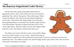 Print <i>The Runaway Gingerbread Cookie Mystery</i> reading comprehension.
