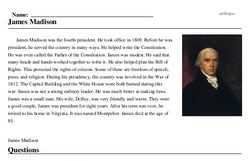 Print <i>James Madison</i> reading comprehension.