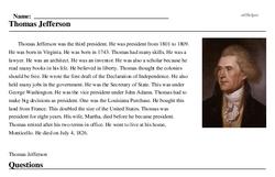 Print <i>Thomas Jefferson</i> reading comprehension.