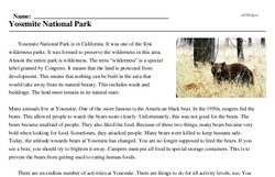 Print <i>Yosemite National Park</i> reading comprehension.