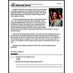Print <i>Nancy Pelosi, Lady of Power</i> reading comprehension.