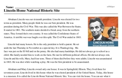Print <i>Lincoln Home National Historic Site</i> reading comprehension.