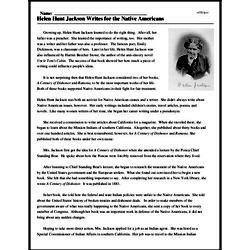 Print <i>Helen Hunt Jackson Writes for the Native Americans</i> reading comprehension.