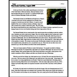 Print <i>Hurricane Katrina, August 2005</i> reading comprehension.