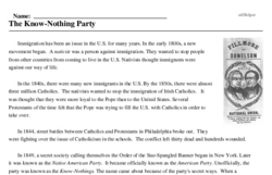 Print <i>The Know-Nothing Party</i> reading comprehension.