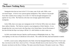 Print <i>The Know Nothing Party</i> reading comprehension.