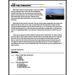 Print <i>Death Valley National Park</i> reading comprehension.