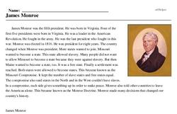 Print <i>James Monroe</i> reading comprehension.