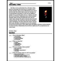 Print <i>John Quincy Adams</i> reading comprehension.
