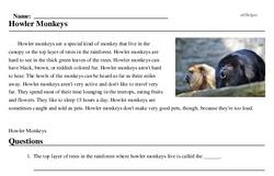 Print <i>Howler Monkeys</i> reading comprehension.