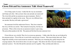 Print <i>Clown Fish and Sea Anemones: Talk About Teamwork!</i> reading comprehension.