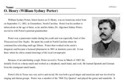 Print <i>O. Henry (William Sydney Porter)</i> reading comprehension.