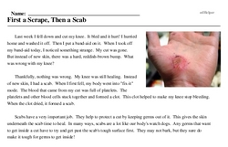 Print <i>First a Scrape, Then a Scab</i> reading comprehension.