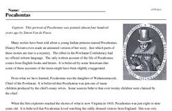 Print <i>Pocahontas</i> reading comprehension.
