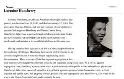 Print <i>Lorraine Hansberry</i> reading comprehension.