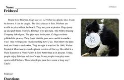 Print <i>Frisbees!</i> reading comprehension.