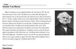Print <i>Martin Van Buren</i> reading comprehension.