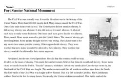 Print <i>Fort Sumter National Monument</i> reading comprehension.