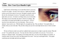 Print <i>Vision - How Your Eyes Handle Light</i> reading comprehension.