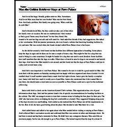 Print <i>Max the Golden Retriever Stays at Paws Palace</i> reading comprehension.