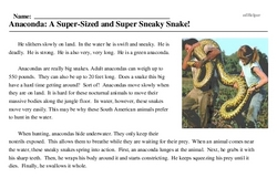 Print <i>Anaconda: A Super-Sized and Super Sneaky Snake!</i> reading comprehension.