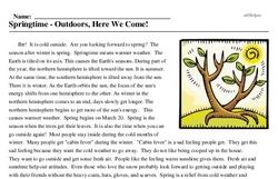 Print <i>Springtime - Outdoors, Here We Come!</i> reading comprehension.