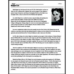 Print <i>Harper Lee</i> reading comprehension.