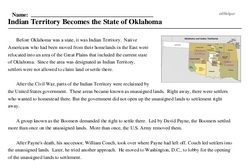 Print <i>Indian Territory Becomes the State of Oklahoma</i> reading comprehension.