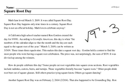 Print <i>Square Root Day</i> reading comprehension.