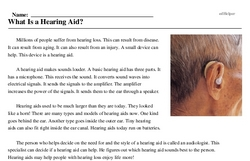 Print <i>What Is a Hearing Aid?</i> reading comprehension.