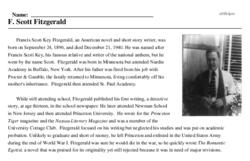 Print <i>F. Scott Fitzgerald</i> reading comprehension.