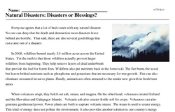 Print <i>Natural Disasters: Disasters or Blessings?</i> reading comprehension.