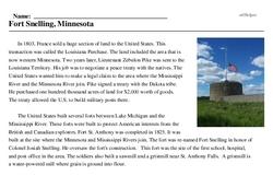 Print <i>Fort Snelling, Minnesota</i> reading comprehension.