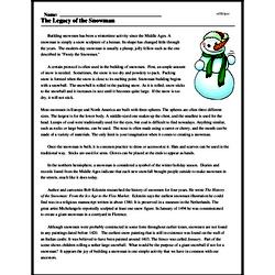 Print <i>The Legacy of the Snowman</i> reading comprehension.