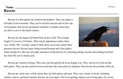 Print <i>Ravens</i> reading comprehension.