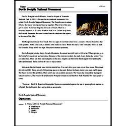 Print <i>Devils Postpile National Monument</i> reading comprehension.