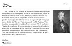 Print <i>John Tyler</i> reading comprehension.