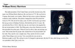 Print <i>William Henry Harrison</i> reading comprehension.