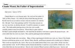 Print <i>Claude Monet, the Father of Impressionism</i> reading comprehension.