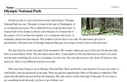 Print <i>Olympic National Park</i> reading comprehension.