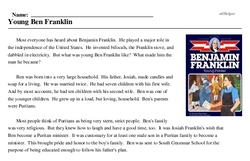 Print <i>Young Ben Franklin</i> reading comprehension.